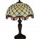 "Meyda Tiffany Stained Glass 20""H Diamond & Jewel  Accent Table Desk Lamp"