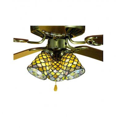 "27470 Meyda Tiffany Stained Glass 4""W Fishscale  Ceiling Fan Light Shade"
