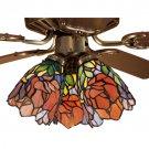 "Meyda Tiffany Stained Glass 4""W Burgundy Iris flowers Ceiling Fan Light Shade"