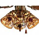 "Meyda Tiffany Stained Glass 4""W Jeweled Grape Ceiling Fan Light Shade"