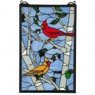 "Meyda Tiffany Stained Glass 13""W X 20""H Cardinal Morning Window Panel"
