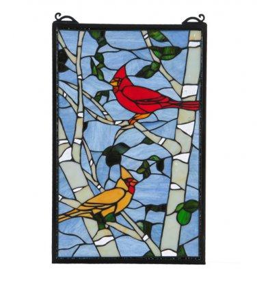 "Meyda Tiffany Stained Glass 13""W X 20""H Cardinal Morning Window Panel"