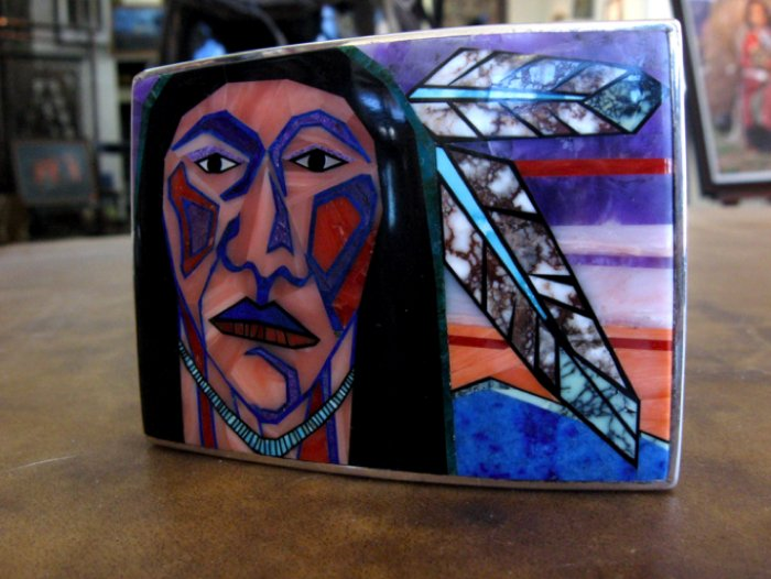 Navajo Inlay Beltbuckle - Bryan Yellowhorse