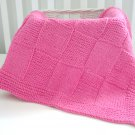 Handmade Knitted Patchwork Girl Blanket 30 x36 Inch Rose Pink