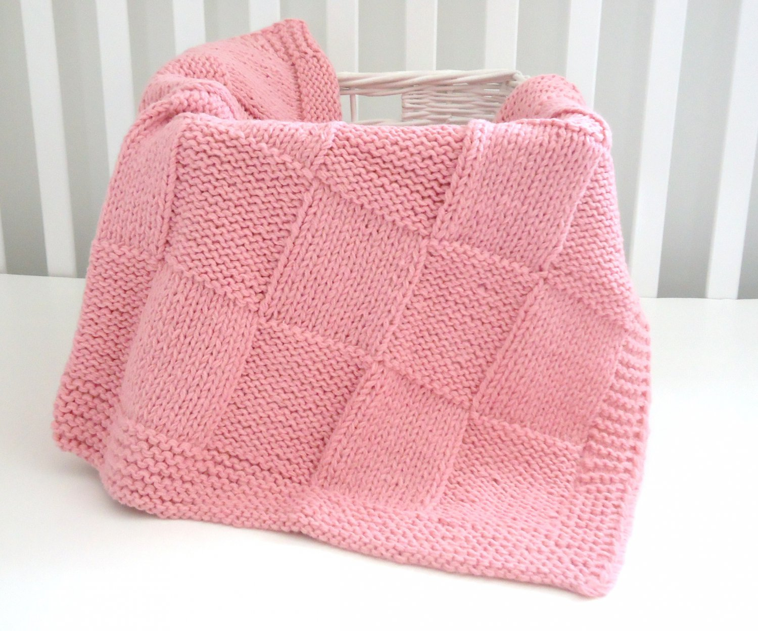 Handmade Knitted Patchwork Girl Blanket 30 x36 Inch Pink