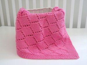 Handmade Knitted Diamond Girl Blanket 30 x36 Inch Rose Pink