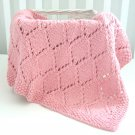 Handmade Knitted Diamond Girl Blanket 30 x36 Inch Pink