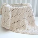Handmade Knitted Diamond Girl Boy Blanket 30 x36 Inch Beige