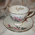 "Afternoon Tea - Vintage Pink Rose ""Mother"" Tea cup and saucer"