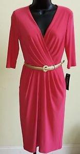 New  Ralph Lauren Pink Grapefruit Belted Matte Jersey V Neck Dress Sz 8 $144
