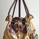 Fashion Women Faux Leather Purse Hobo Shoulder Tote Handbag Gold/Brown MSRP $45