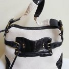 Women Natural Color Canvas & Black Faux Leather Satchel Shoulder Bag