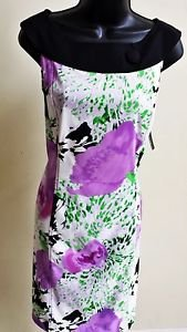 NWT AGB Sleeveless Wide neck band  - Multi Floral Print Dress Size 6