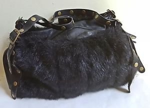 Metro 7 Leather & Faux Fur Shoulder Handbag Black