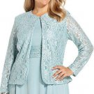 New JESSICA HOWARD WOMEN PLUS SIZE SEQUIN LACE JACKET SEAFOAM 14W – $60.00
