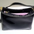 LIZ CLAIBORNE BLACK PATENT LEATHER MEDIUM SHOULDER HANDBAG PURSE