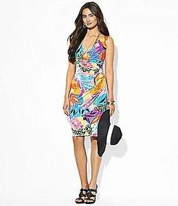 NEW Lauren Ralph Lauren V-Neck Floral Print Jersey Sheath Dress Size 14 NWT MSRP