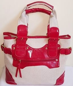 Women Natural Color Canvas & Red Faux Leather Satchel Shoulder Bag