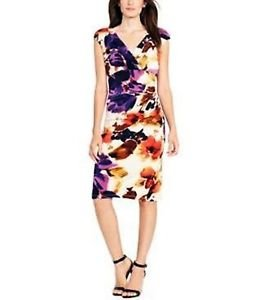 New LAUREN RALPH LAUREN WOMEN FLORAL-PRINT SURPLICE DRESS PINK CREAM $134