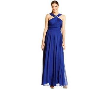 ALEX EVENINGS DRESS, SLEEVELESS JEWEL-BROOCH ROYAL  Size 10 $149