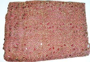 """New Extravagant Circular Sun Disk Sequin Lace Fabric Red/Gold 48"""" Wide 1-3/4 Yar"""