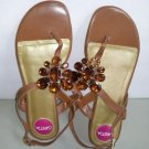 Greta Thong T-Strap Faux Jeweled Flat Sling back Women Sandal Size 6.5W