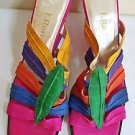 Vintage J. Renee Silk Fuchsia Fabric Open Toe Slide Sandals Slippers Shoes 7.5M