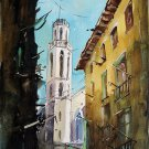 Barcelona Street - landscape watercolor art print