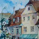 Houses - landscape watercolor art print