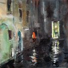 Venice night - landscape watercolor art print