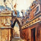 Mexico ruins II - landscape watercolor art print