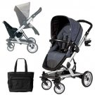 Peg Perego Skate Stroller/Pram System w/Skate Jumper Seat & Diaper Bag - Denim