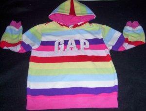 Girls L 10 GAP Striped Logo Hoodie Sweatshirt