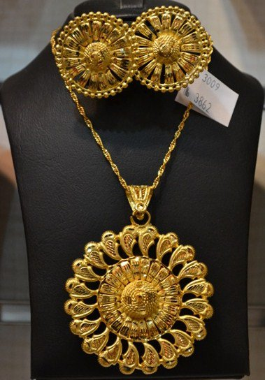 Dubai Gold Plated 2 Gram Gold Pendant Necklace Set