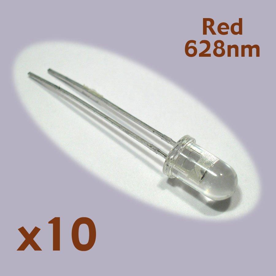 Red LED radial leads 5mm (10 pcs, NoS)