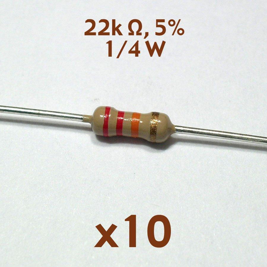22K ohm 5% 1/4 watt axial resistor (10 pcs, NoS)