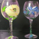 Set of 2 Floral Hand painted Wine Glasses