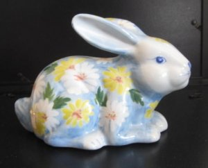 Porcelain Bunny Rabbit Bank Handpainted, Andrea by Sadek