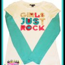 "GIRLS GAP KIDS ""GIRLS JUST ROCK"" TOP LONG SLEEVED SHIRT SIZE XL 12"