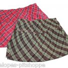 2 FADED GLORY GIRLS BROWN RED PLAID SKORTS SKIRTS SIZE 7 SIZE 8