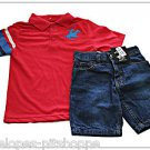 NEW BEVERLY HILLS POLO CLUB BOYS TOP JEAN SHORTS SET SIZE 4