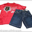 NEW BEVERLY HILLS POLO CLUB BOYS TOP JEAN SHORTS SET SIZE  4/5