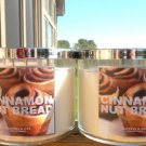 BATH & BODY WORKS LARGE 3-WICK CANDLE JARS IN CINNAMON NUT BREAD X 2 FREE SHIP!