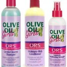ORS Olive Oil Girls Trio Set (Gentle Cleanse Shampoo, Leave-In Conditioning Detangler)