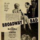BROADWAY BAD 1933 Joan Blondell Ginger Rogers