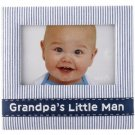 Grandpa's Little Man Navy Blue Seersucker Fabric Photo Picture Frame