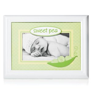 Lil' Peach Sweet Pea Hand-Finished Wood Baby Photo Picture Frame