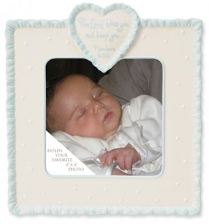 This is the Day Dedication Ceramic Baby Photo Picture Frame with Blue Border