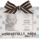 'Wonderfully Made' Blue Polka Dot Ceramic Baby Photo Picture Picture Frame