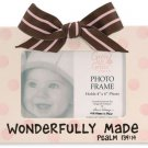 'Wonderfully Made' Pink Polka Dot Ceramic Baby Photo Picture Frame